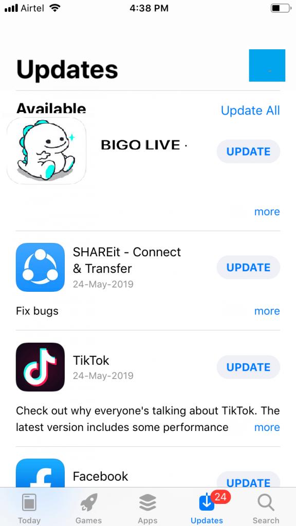Click Update