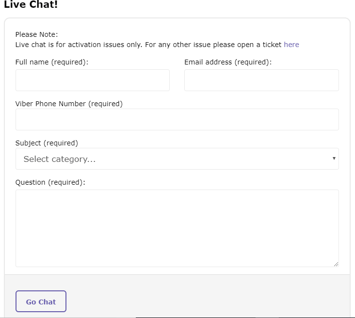Viber Customer Service - Live Chat Form