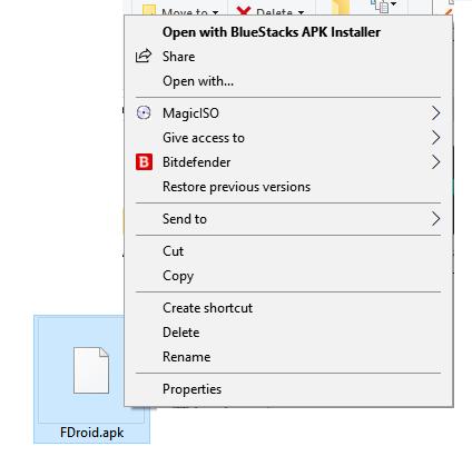 Click on Open with BlueStacks Apk Installer