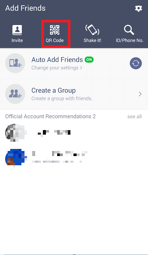 Click on QR Code icon