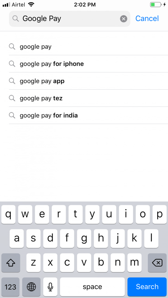 Type as Google Pay