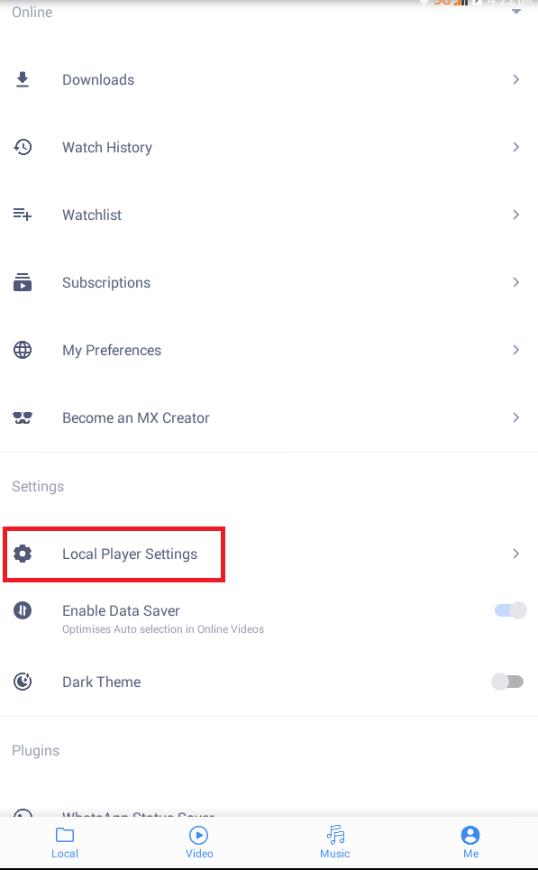 Click Local Player Settings