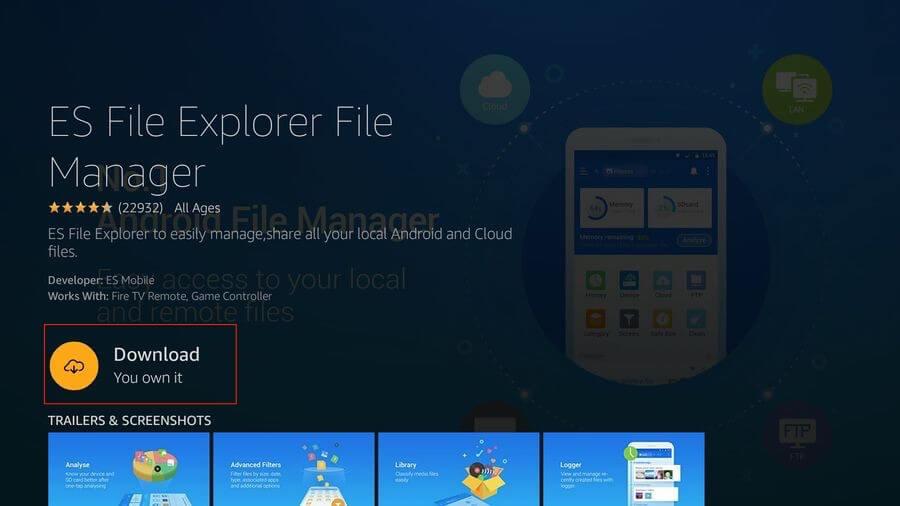 Launch ES File Explorer