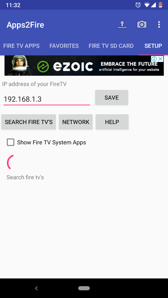 Type the IP Address of Fire TV