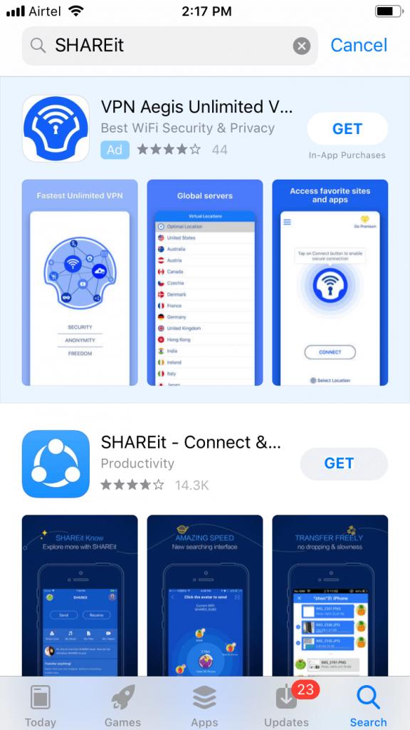 Select SHAREit for iOS
