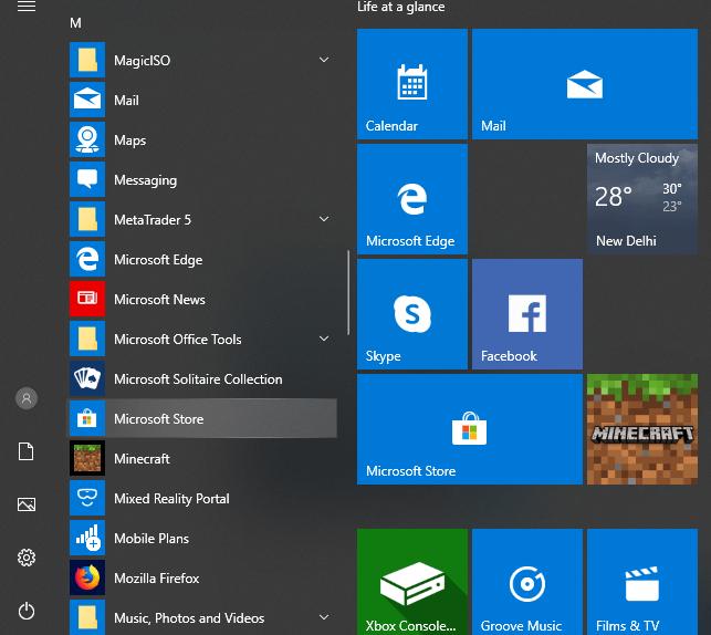 Click on Microsoft Store icon
