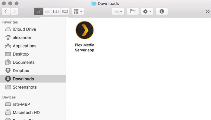 Drap and Drop Plex.zip to Application folder