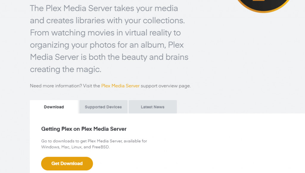 Select Download to get Plex on Mac