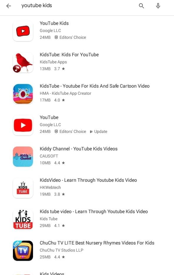 Select YouTube Kids