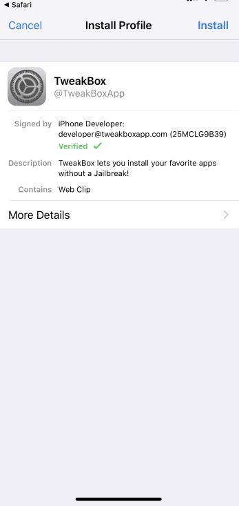 Click on Install option